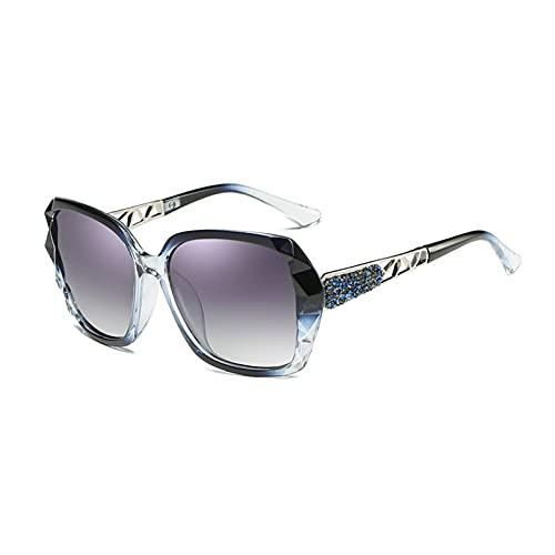 KAITUO Gafas de Sol polarizadas de Diamante de Lujo de Moda para Mujeres Retro Cuadrado de conducción Deportes Femenino UV400 Sombras de Gafas de Sol (Frame Color : Other, Lenses Color : Sky Blue)