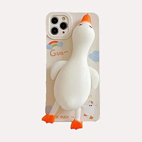 El iPhone 11 se utiliza para iPhone12proMax Apple 11 descompresión funda protectora de la carcasa del teléfono móvil, dedos de descompresión apretar la linda silicona suave para golpear el pato 3D