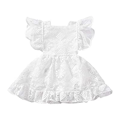 Baby Girl Dress Newborn Girl White Lace Princess Ruffle Skirt Birthday Wedding 0utfits (White, 0-3months)