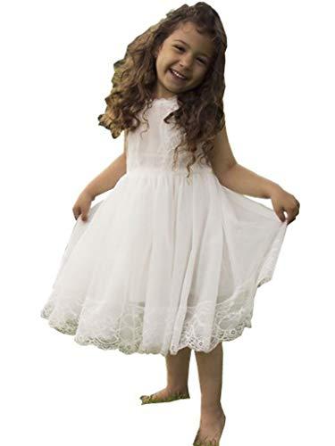 Bow Dream Mädchenkleid aus Vintage Spitze aus weiß 8 Jahre