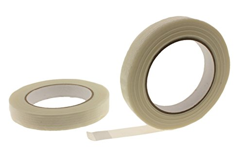 2pk 3/4' in Filament Strapping Tape Medium Duty 125 lb. Fiberglass Glass Strand Reinforced Tape 4.3 Mil Packing Bundling Steel Concrete Palletizing Holding Moving .75 inch 18 MM
