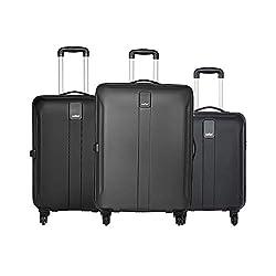 Safari Thorium Sharp Anti-Scratch Combo Set of 3 Black Small, Medium & Large Check-in 4 Wheel Hard Suitcase,Safari Industries (India) Ltd,THORSHARPANTI3P4WBLK
