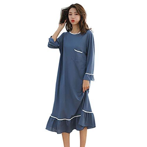 HWY Pijamas Mujer Tallas Grandes Algodon Pijama Entero Mujer Pijama Una Pieza Cuerpo Entero Transpirable Manga Larga Simples Y Moda Muy CóModo Y Elegante Vestido De Dormir De Una Sola Pieza