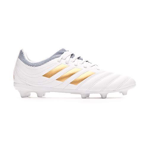 adidas Copa 19.3 FG Kinder, Fußballstiefel, Weiß-Gold Metallic-Fußball-Blau, Weiß - Weiß / Gold Metallic / Fußball Blau - Größe: 33 EU