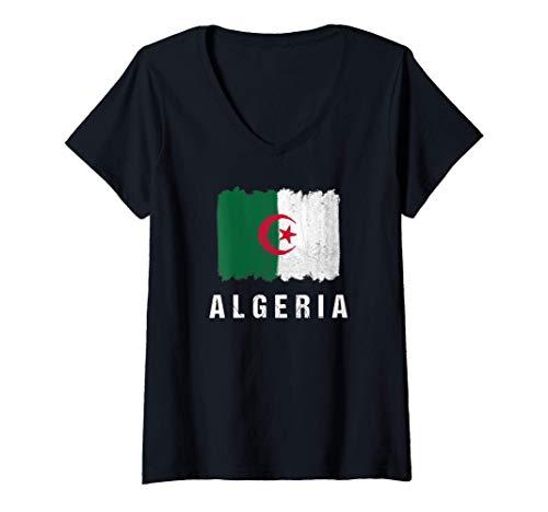 Damen Gemalte Algerien Fahne / Algeria Flagge Fan Geschenk T-Shirt mit V-Ausschnitt