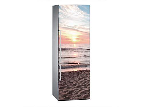 Oedim Vinilo para Frigorífico Puesta de Sol en la Playa 185x70cm   Adhesivo Resistente y Económico   Pegatina Adhesiva Decorativa de Diseño Elegante