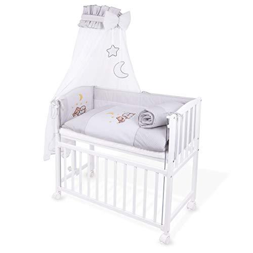 Beistellbett babybett 90x40 weiß inkl. matratze bettwäsche set komplett grau neu