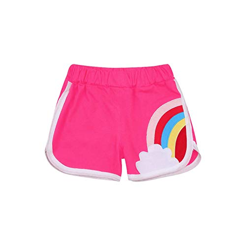 Baby Girl Active Shorts Summer Rainbow Print Cotton High Waist Elastic Unisex Short Pants Outfit (Rose Red, 110)