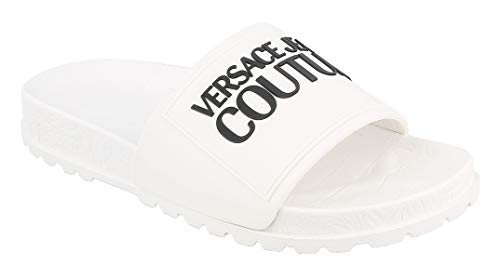 VERSACE JEANS COUTURE Ciabatte Donna Colore Bianco Ottico Knitted+Leather - E0VVBSP671527003 (Numeric_36)