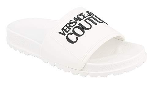 Versace JEANS Couture Damen-Slipper, Farbe: Weiß, optisch, Knitted + Leder, E0VVBSP671527003, Weiß - Bianco - Größe: 35 EU