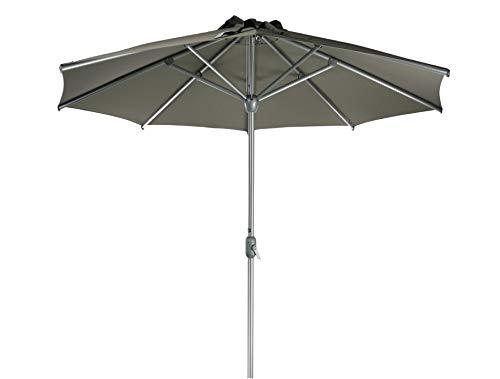 SORARA Apple Parasol de Jardin Exterieur | Taupe | Ø 300 cm / 3 m | Rond | Diamètre du Mât Ø 48 mm | Commande à Manivelle (Pied excl.)