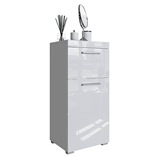 Newroom Kommode Badezimmer Weiß Hochglanz mit viel Stauraum - 37x79x31 cm (BxHxT) - Badezimmerschrank Badkommode Badezimmermöbel - [Trinity.Ten]
