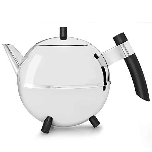 doppelwandige Teekanne Duet® Meteor Edelstahl glänzend schwarze Beschläge 1,2 ltr.