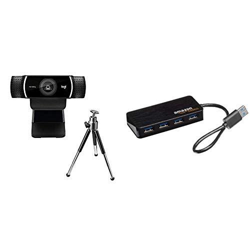Logitech C922 Pro Stream Webcam, Streaming en Full HD 1080p con trípode y Licencia Gratuita de 3 Meses para XSplit - Negro & AmazonBasics - Hub USB 3.0 de 4 Puertos (Enchufe Europeo), Color Negro