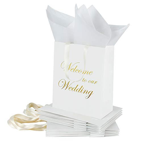 Loveinside Medium Kraft Gift Bags-Welcome to Our Wedding Foil in Carta Bianca con Sacchetto di Carta Bianca con Carta velina - Matrimonio, bomboniera, Damigelle regalo-12Pack -20.5 X10.2 X 25.5CM