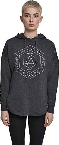MERCHCODE Damen Linkin Park Kapuzenpullover OML Oversize Hoody mit Band-Logo-Print, Charcoal, XS