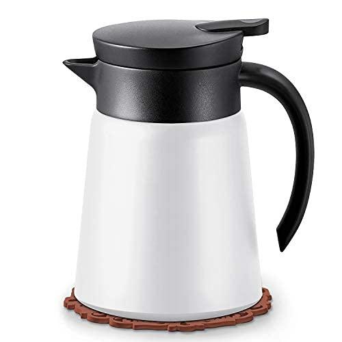 JEEZAO Caraffa Termica 880ml in Acciaio Inox 304, Thermo per caffè e tè, Trattiene Il Calore per 12 Ore, Parete a 3 Strati (Bianca)