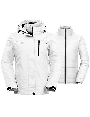 Wantdo Women's Warm Winter Coats Windproof 3-in-1 Ski Jacket Hooded Waterproof Rain Coat Ivory M