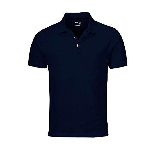 GAP Men's Solid Colors Custom Fit Polo Mesh Shirt (Navy, Large)