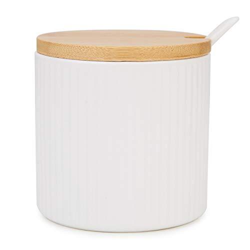 Chase Chic Keramische Zuckerdose, Porzellan-Zuckerdose in Streifenform mit Holzdeckel und Porzellanlöffel 250 ml(8.4oz), Anzug für Kaffeebar, Küche und Frühstück zu Hause, Mattweiß