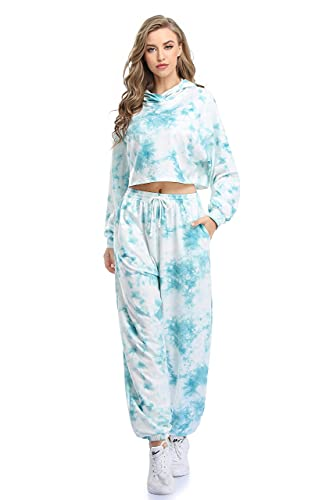 Sylanfia Trainingsanzug Set für Damen, 2-teilig Batik Sportbekleidung, Damen Sommer Sportanzug, lange Ärmel, Sweatshirt Kurzes T-Shirt und Jogginghose Loungewear, Grün, S
