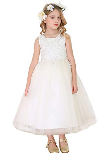 Bow Dream Lace Flower Girl Dress Wedding First Holy Communion Baptism Dresses Ivory 8