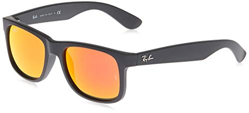 Ray-Ban RB4165 Justin Rectangular Sunglasses, Black Rubber/Orange Mirror, 55 mm