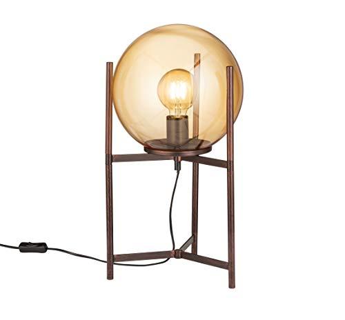 WOFI Innenleuchte, Wohnraum, Tischleuchte, Tischlampe, Leuchte, Lampe, Messing, antikbraun Glas 40 W, Braunfarbig