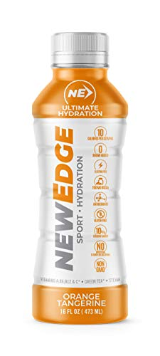 NEWEDGE Sports hydration drink, Orange Tangerine, No added sugar, 10 calories, Natural flavor and Color, Aminoacids, Vitamins, Green tea, No preservatives, Best Athlete Choice, 16 oz, Single