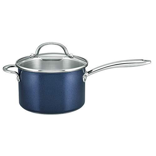 Prestige Optisteel Induction Saucepan with Glass Lid, Blue, 20 cm