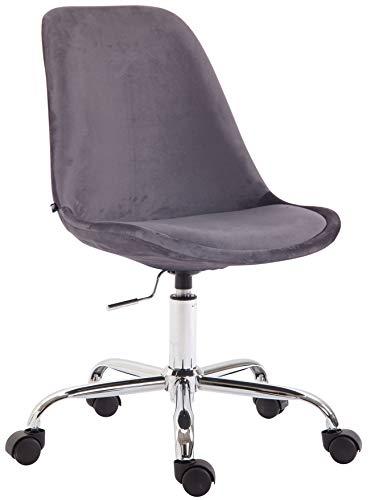 CLP Bürostuhl Toulouse Samt | Schreibtischstuhl Mit Leichtlaufrollen | Drehstuhl Mit Metallgestell In Chrom-Optik, Farbe:dunkelgrau