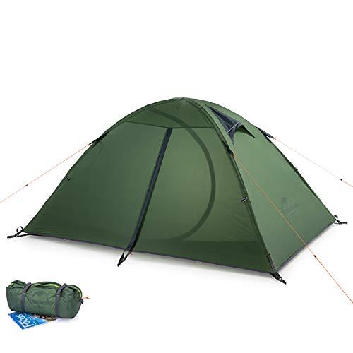 iBasingo Carpa para Camping Tienda para 2 Personas Tienda Ultraligera de Doble Capa de Silicona de Nailon 20D para Exteriores Tienda de Campaña Portátil para Mochileros de 3 Estaciones NH15Z006-P