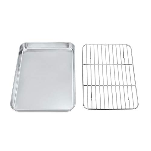 TEAMFAR Backblech mit abkühlgitter, Edelstahl Klein Backform Mini-Ofenschale und kuchengitter auskühlgitter, 23 x 18 x 2,5, gesund & ungiftig, leicht zu reinigen und spülmaschinenfest