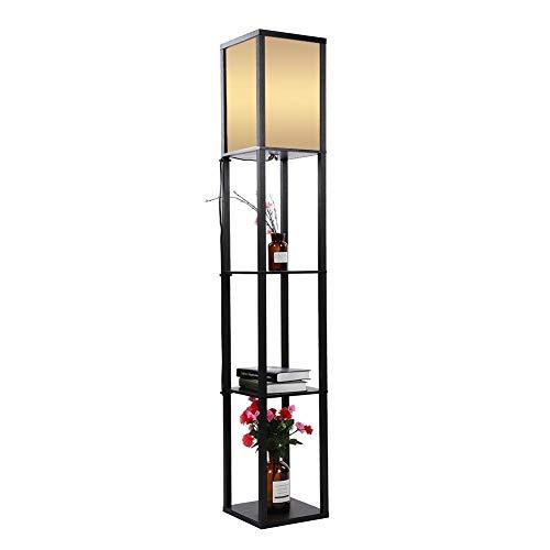 Lámpara De Pie Madera Roble Tela Vertical de Suelo Moderna con Unidades de Estanterías Integradas para Salones Lounge Pasillo Decoración Iluminación Hogar Enchufe de la UE 220V (Negro)