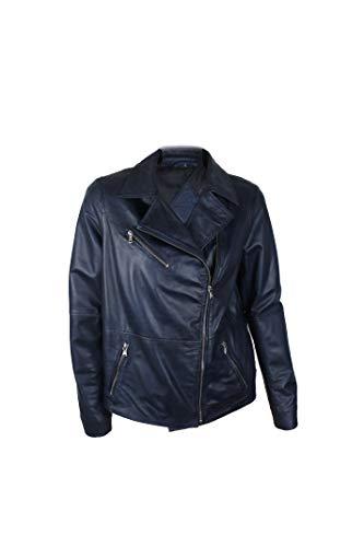 Zerimar Lederjacke für Damen   Lederjacke Damen   Lederjacke Damen Echtleder   Damen Jacke Leder   Farbe: Marine blau   Massnahmen: L