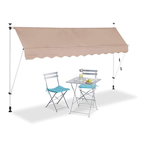 Relaxdays, beige Klemmmarkise, Balkon Sonnenschutz, einziehbar, Fallarm, ohne Bohren, höhenverstellbar, 300 cm breit