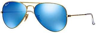 نظارة شمسية بتصميم افياتور للجنسين من ري - بان - اطار ذهبي كامل وعدسة ذهبية، RB3025