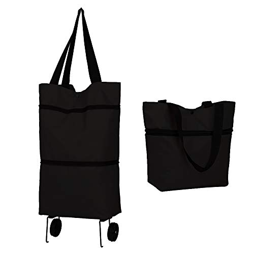 POLARHAWK Reusable Grocery Bags with Wheels,Collapsible Shopping Trolley Bag Folding Shopping Bag Grocery Bags for Shopping,Fruits,Vegetables,Grocery Cart Waterproof Interior(Black)