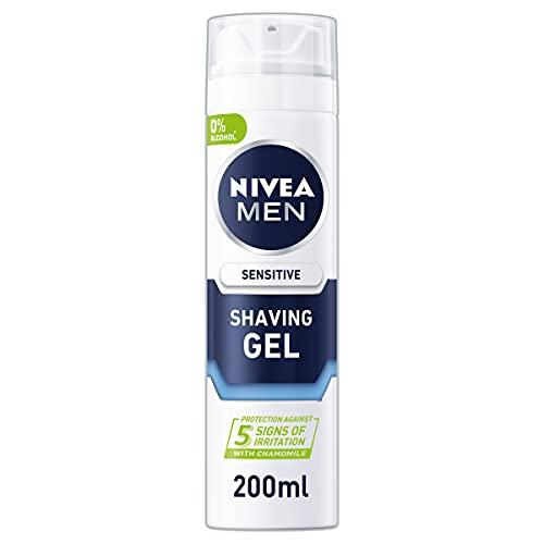 NIVEA MEN Sensitive Shaving Gel Pack of 6 (6 x 200ml) Sensitive Skin Shaving Gel, Shave Gel for Men, Shaving Gel for Irritated & Dry Skin with Witch Hazel