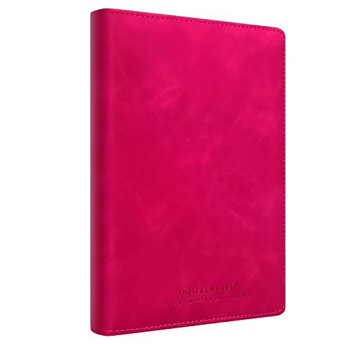 Initial heart Thick Hardcover Business Notebook Journal with Sewing thread,A5 Size 5.8 X 8.3 inches,Horizontal Line Pages,94 Sheets 188 Pages,Premium PU Leather,Ribbon Bookmark (Rose Red)