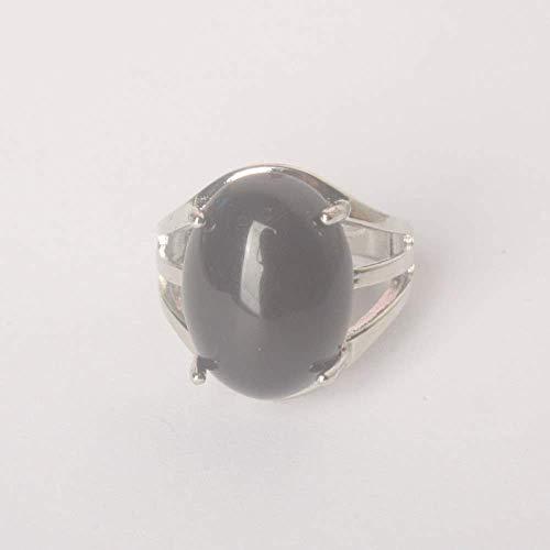 Gflyme Anillo abierto para mujer, ajustable, vintage, simple, mosaico ovalado, piedra de obsidiana, anillo unisex, joyería de plata, regalos para bodas, prom, cumpleaños, cumpleaños, promesas