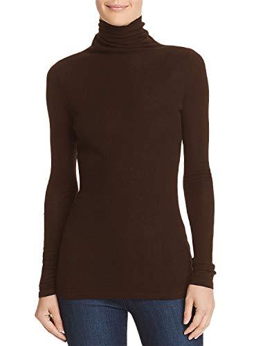 Damen Langarmshirt Pullover Basics Shirt mit Rollkragen(Dunkelbraun, S)