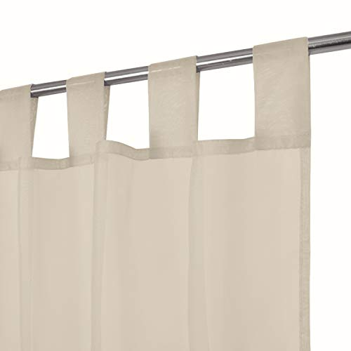 Megachest lucy Woven Voile Tab Top Curtain a pair with ties (28 colors) with tie backs (mink, 56' wideX90 drop(W142cmXH228.5cm))