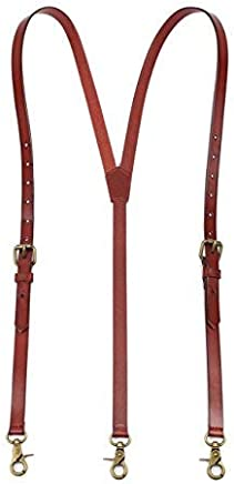 ROCKCOW Mens Genuine Leather Suspenders Y-Back Adjustable Belt Loop Suspenders Great for Casual,