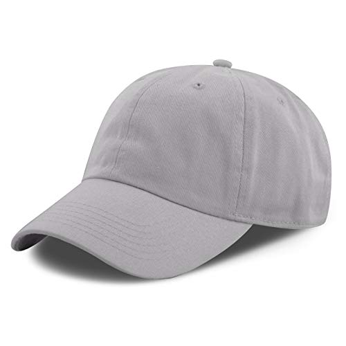 The Hat Depot 300N Washed Low Profile Cotton and Denim Baseball Cap (Grey)