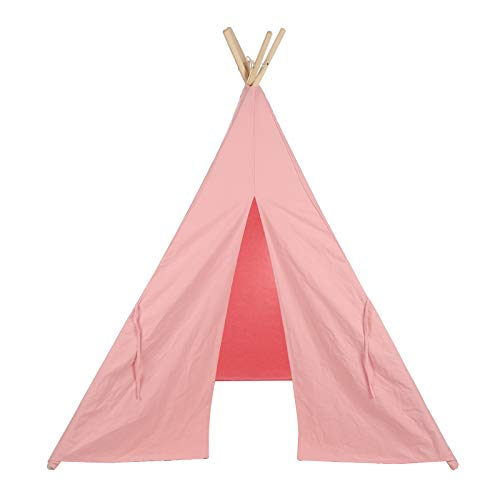 Quieting Kids Teepee Play Tent Children Large Cotton Canvas Indian Wigwam Playhouse Indoor Pink