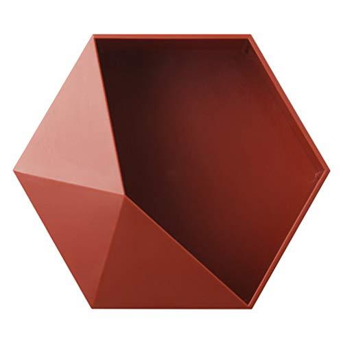 mensole da muro rosse Miraitian Stile Nordico Esagonale Geometrico Parete Mensola Galleggiante Decorazione Casa Scatola di Immagazzinaggio Combinazione di Immagazzinaggio Rack