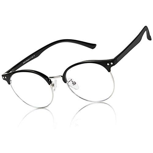 DUCO Blue Light Blocking Glasses Lightweight Eyeglasses Filter Computer Gaming Glasses DC5203 (Black Silver)