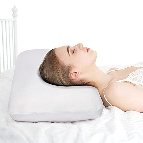 Findigit Almohada de Espuma viscoelástica, Almohada ortopédica de Soporte para el Cuello, Almohada, Almohada para el Cuello, Funda de Almohada extraíble y Lavable (70x40x13cm)