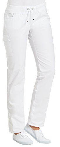 clinicfashion 10627040 Stretch Hose Damen weiß, elastisches Rippstrickbündchen mit Kordeltunnelzug, Mischgewebe, Größe 44